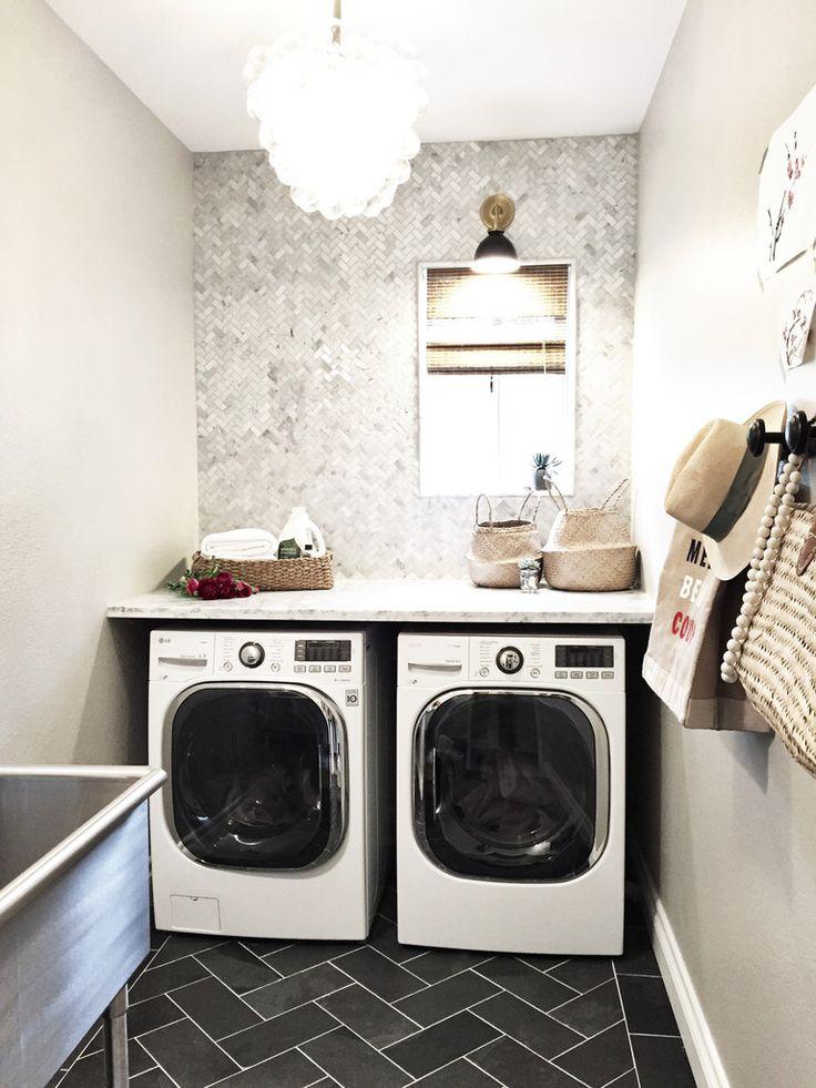 Laundry Room.  Folding Counter.  Herringbone Marble Backsplash.  Neutral Gray.
