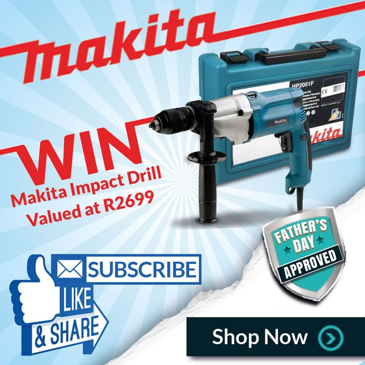 WIN with Makita Power Tools South Africa. Like & Share, subscribe to our mailing list or buy any Makita product online to stand a chance to win a Makita Impact Drill HP2051. Subscribe - http://eepurl.com/bswK6b / Buy online - https://www.livecopper.co.za/collections/makita-special / Facebook - https://www.facebook.com/livecopper.co.za
