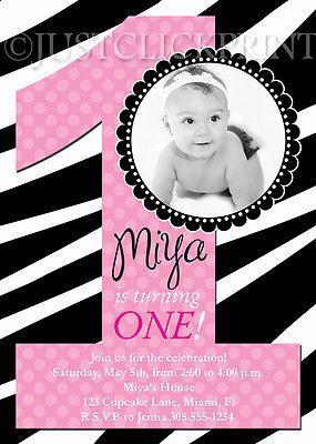 First Birthday Girls Zebra Print Birthday Invitation