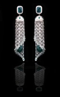 Waterfall earrings by Piranesi Fine Jewelry  Great Art Deco look. Wonder what the green Stones are? Jewelry I Should Own |Jewelry - Daily Deals| fine jewelry