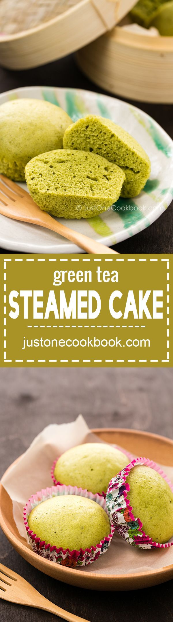 Green Tea Steamed Cake (抹茶蒸しパン) | Easy Japanese Recipes at http://JustOneCookbook.com
