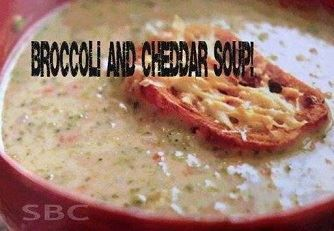BROCCOLI & CHEDDAR SOUP Ingredients: 3 Tbsp. butter 1 yellow onion diced 2 carrots, peeled and diced 1 large head of broccoli. Cut into florets and thinly sliced 2 Tbsp. minced garlic 2 Tbsp. flour...