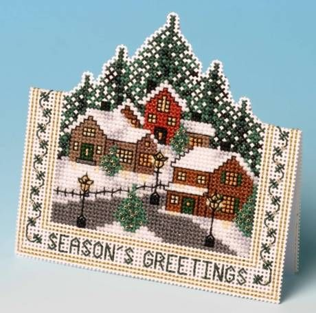 image of Christmas Village Card 3D Cross Stitch Kit. This is cool!