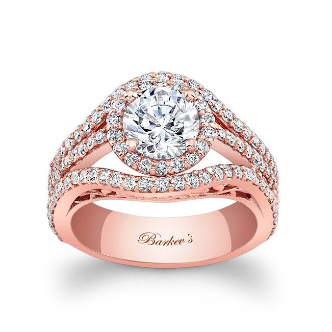 Lovely Rose Gold Engagement Ring LPW This unique diamond halo engagement ring features a