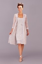 ") Ann Balon, ""Antida"", Mother of the Bride,  Ruched embossed stretch lace coat and dress. Lace band around dress hemline and matching lace to coat."
