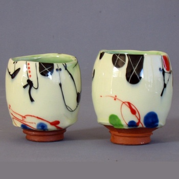 Oh, these are lovely! 'Abstract Unomi Cups' by New Zealand ceramic artist Campbell Hegan. Thrown and glazed ceramic. via Masterworks Gallery