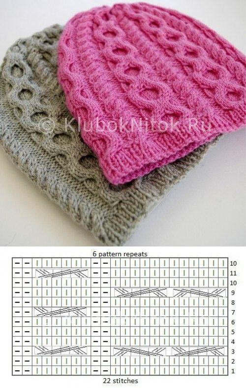Рельефные шапочки | Вязание для девочек | Вязание спицами и крючком. Схемы вязания.