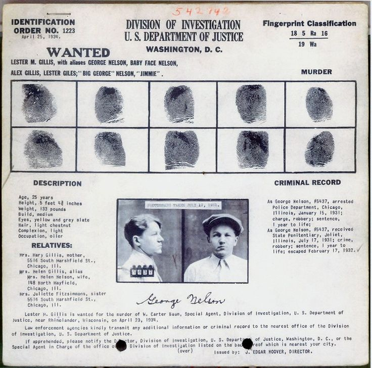Wanted poster of Lester M. Gillis, aka Baby Face Nelson