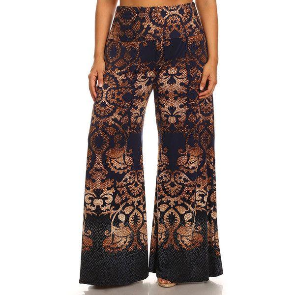 CANARI Black Paisley Palazzo Pants ($30) ❤ liked on Polyvore featuring plus size women's fashion, plus size clothing, plus size pants, plus size and canari