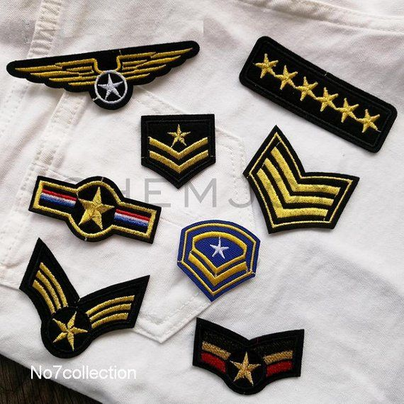 Star Military Army Stripe Embroidered Sew Iron On Patch Applique Badge DIY Parts