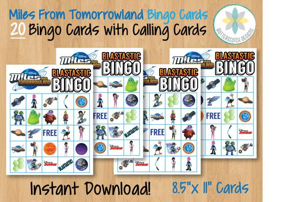 Etsy $8.00 Disney Miles from Tomorrowland Printable Bingo Cards, 20 Different Cards with Calling Cards by ButterscotchDesign