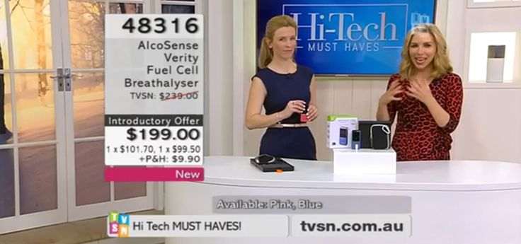 """AlcoSense Verity breathalyser on TVSN  We were recently on TVSN promoting the AlcoSense Verity breathalyser in its """"Hi-Tech Must Haves"""" segment. Check out Tracey from Andatech in the studio while she was live on air!"""