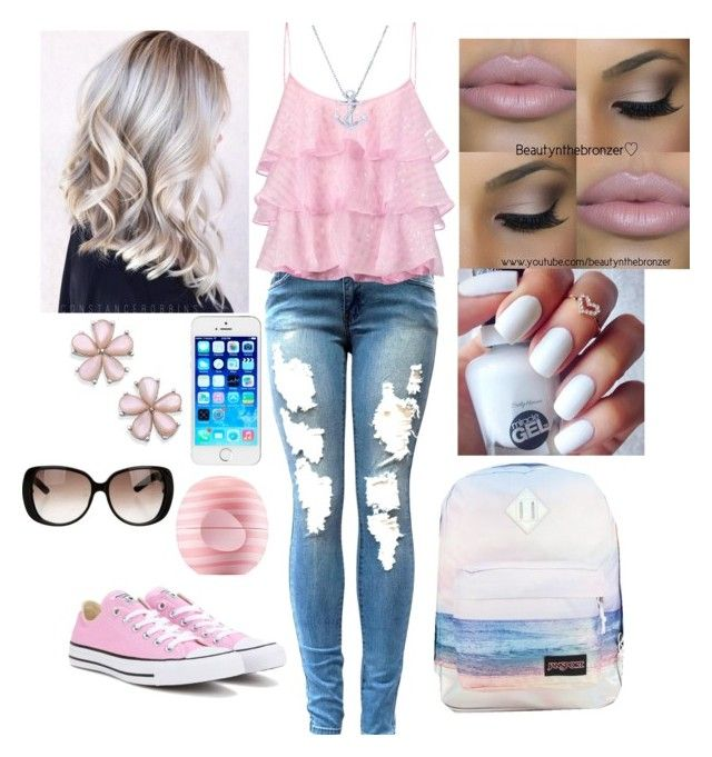 Girly by krmoore1180 on Polyvore featuring polyvore fashion style Pierre Balmain Converse JanSport BERRICLE Gucci Eos clothing