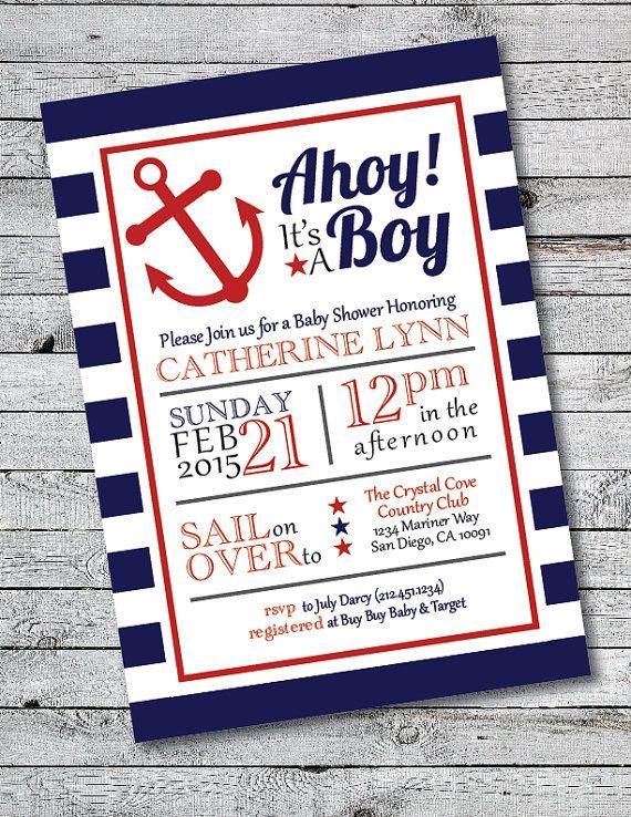 Printable Ahoy It's A Boy Baby Shower Invitation by HillandHoney