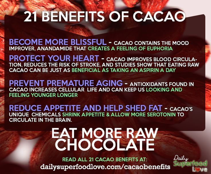 health benefits of chocolate Explore the possible nutritional benefits of raw cacao (raw chocolate) and why the raw vegan food community loves it.