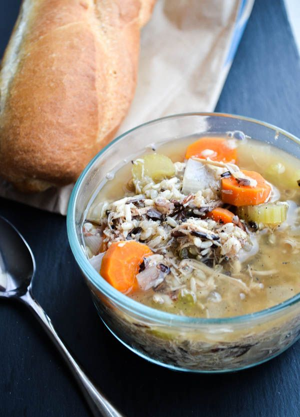 SLOW COOKER CHICKEN & WILD RICE SOUP. This hearty and healthy soup is made in the crockpot!