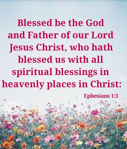 """""""Blessed be the God and Father of our Lord Jesus Christ, who hath blessed us with all spiritual blessings in heavenly places in Christ:"""" Ephesians 1:3 KJV http://bible.com/1/eph.1.3.kjv"""