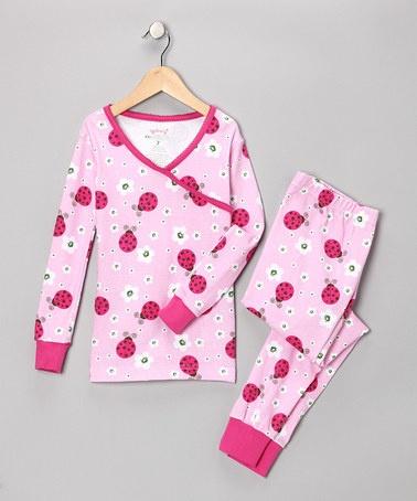 Pink Ladybug Organic Pajama Set - Girls