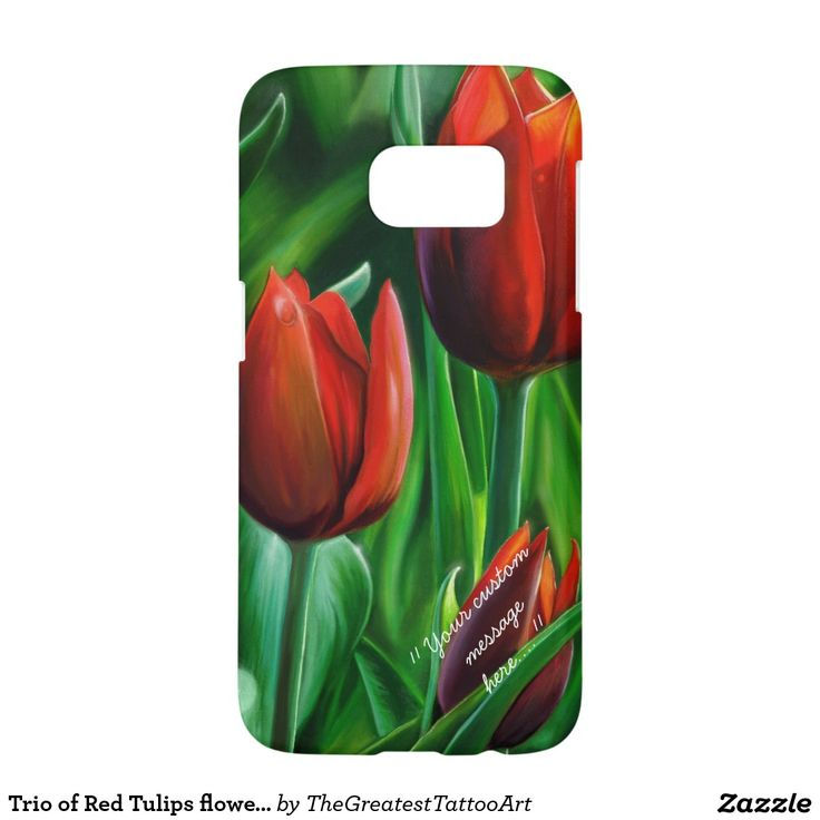 Trio of Red Tulips flower nature digital painting Samsung Galaxy S7 Case