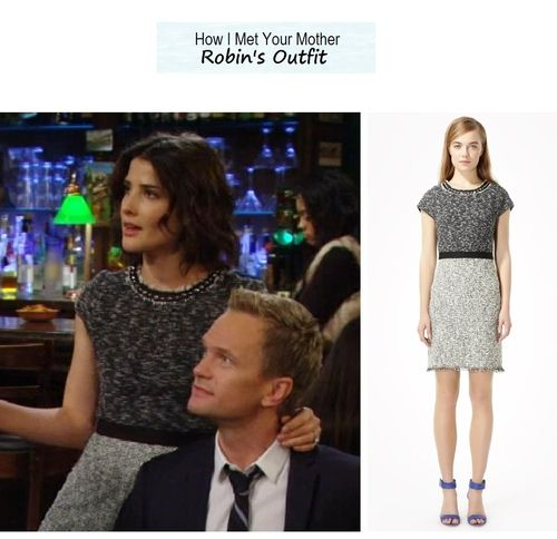 "Cobie Smulders as Robin in How I Met Your Mother - ""The Time Travelers"" (Ep. 820). Robin's Outfit:Tweed Shift Dress $425 here 