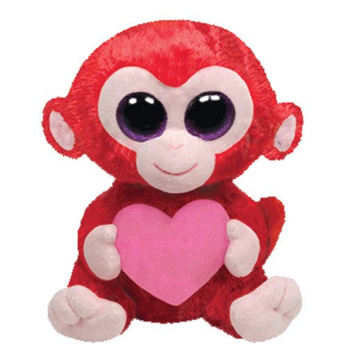 TY Beanie Boos - CHARMING the Red Monkey with Heart (Glitter Eyes) (Regular Size - 6 inch)