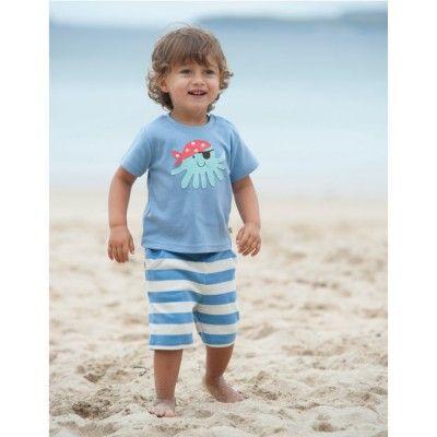 Frugi Βρεφικό Απλικέ Μπλουζάκι με Χταπόδι – Surf Blue - Sunnyside