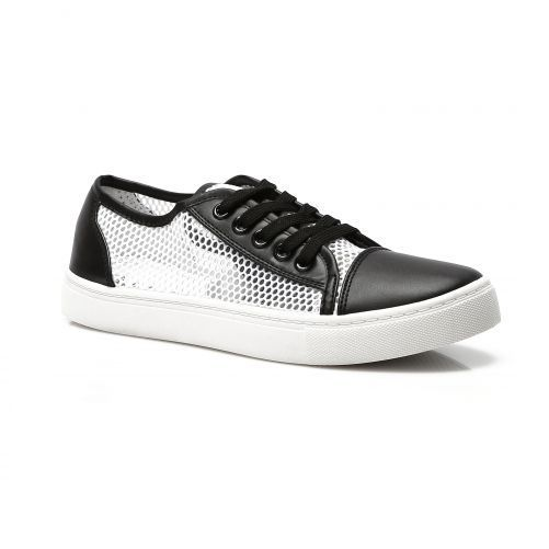 LADIES & WOMEN BLACK /WHITE BREATHABLE PLIMSOLES TRAINERS  SHOES SIZE 3-7.5 UK