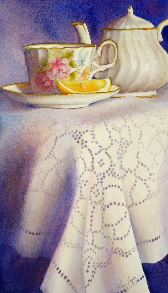 Watercolor Painting of Teacup, Teapot and Lace Tablecloth