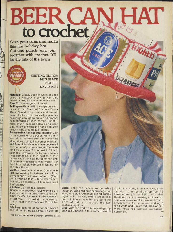 Crochet Beer Can Cowboy Hat Pattern : Beer can hat pattern vintage fashion Pinterest ...