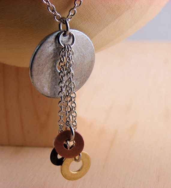 Statement Necklace Pendant Mixed Metal Hardware Jewelry Industrial Copper, Brass, and Black Washers Eco Friendly