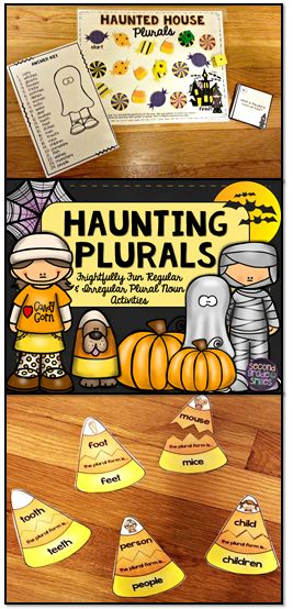 Halloween Regular & Irregular Plural Nouns (puzzles, cut and paste sorts, & board game) Perfect for first or second grade literacy centers or word work in October!