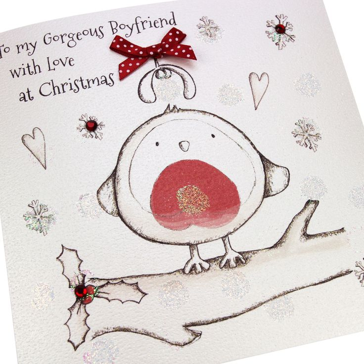 Handmade Christmas Card Embossed Glitter Polka Dot Red Gems Cute Robin - 'To my Gorgeous Boyfriend with Love at Christmas'