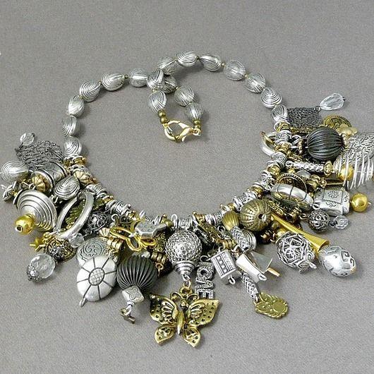 Kaskada złoto-srebrna Naszyjnik niezwykle bogaty / Cascade of gold and silver in extremely rich necklace :)