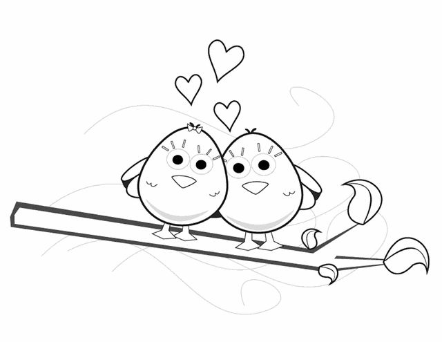 Valentine's Love Birds - Free Printable Coloring Pages