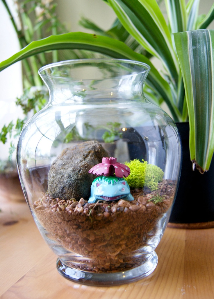 Venusaur Pokemon Habitat Terrarium - Maintenance Free Home Decor or Gift. $18.00, via Etsy.