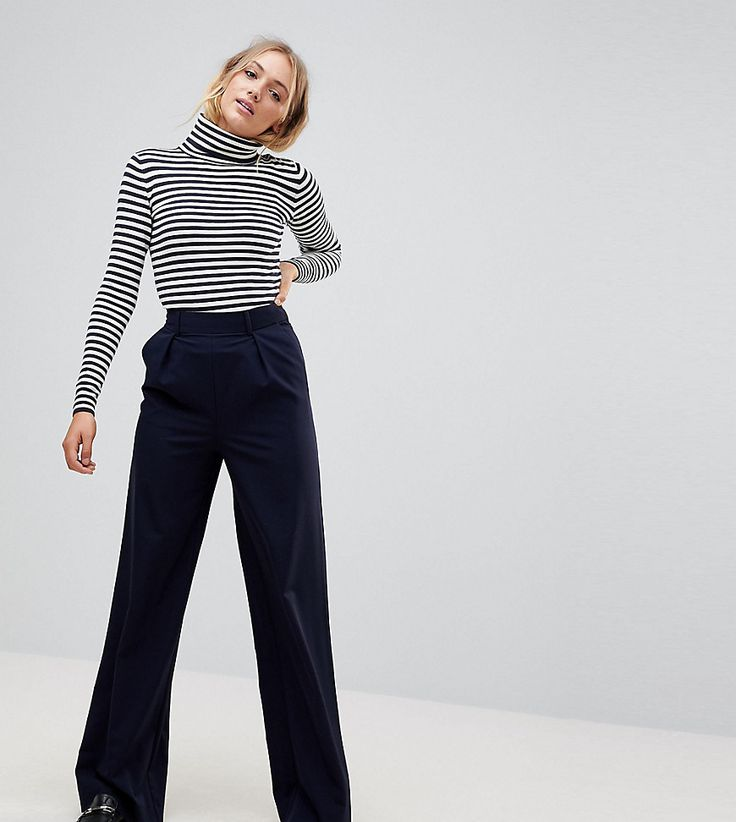 ASOS TALL The Wide Leg Pants with Pleat Detail - Navy