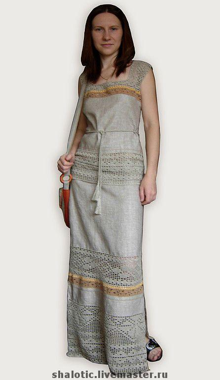 Купить Льняной костюм - лен, льняное платье, русский стиль, этностиль, платье, сарафан, вязание