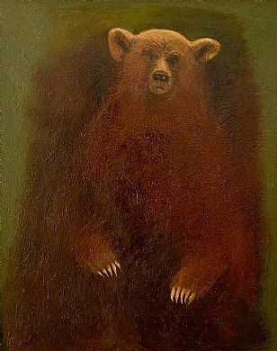 Joyce Koskenmaki.  Artwork : The Bear      oil on linen 31x25'' SOLD    ''Welcome, Otso, be thy coming,  Honey-pawed, who now approachest  To our dwelling, freshly scoured,  To our household, now so charming''''  RUNO XLVI, 190