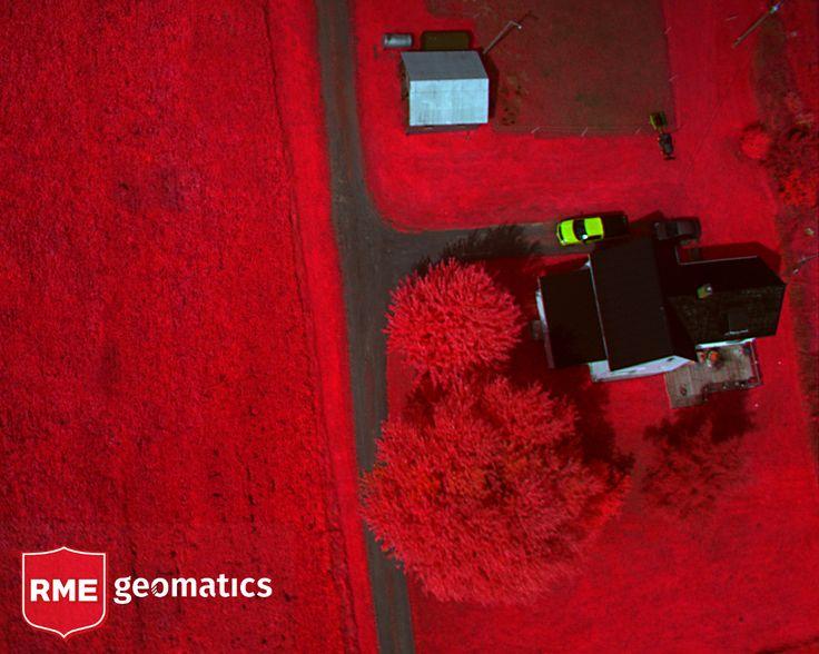 Colour Infrared Mosaic (CIR) over a farmhouse - interesting effect on the car!
