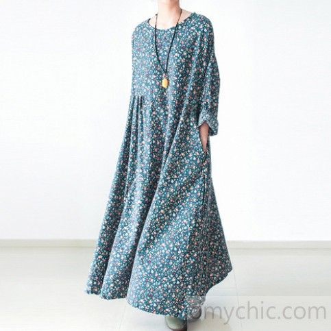 Green floral plus size cotton dresses long sleeve fall dresses print maxi dresse…