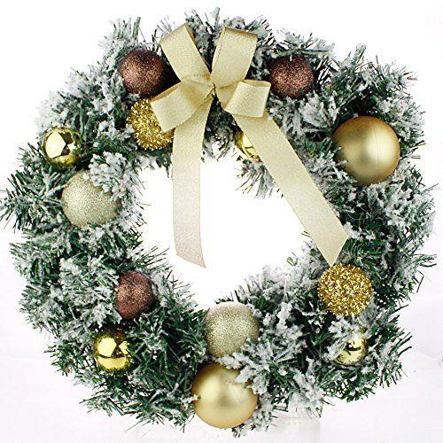 38cm künstliche weihnachtskranz adventskranz grün mit weihnachtsdekoration schnee gold christbaumkugel