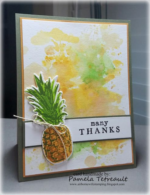 "airbornewife's stamping spot: Day 13. Ink Smooshing/Ink Layering ""MANY THANKS"" card using Hero Arts Pineapple Coloring…"
