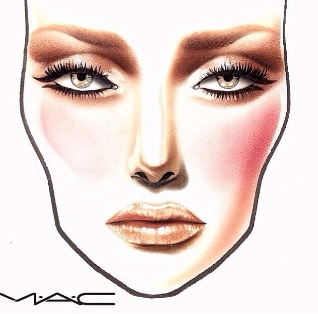 MAC Face Chart. This is a bit too heavy for me as is but I pinned it for the eye look and how this method makes them appear larger.