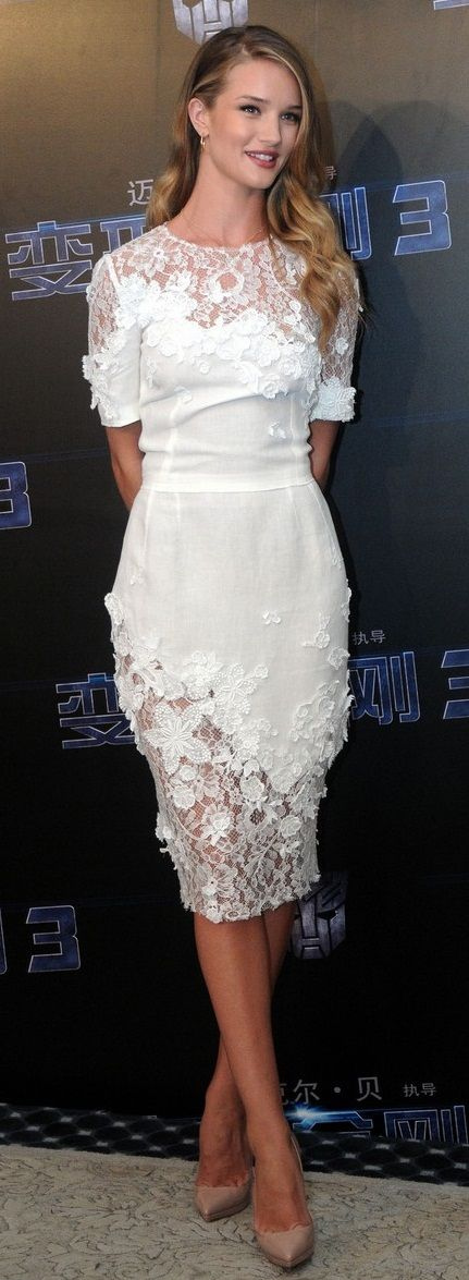 dolce & gabbana white dress below the knee. Good for an engagement party or rehearsal dinner   Koren Reyes Photography Ideas
