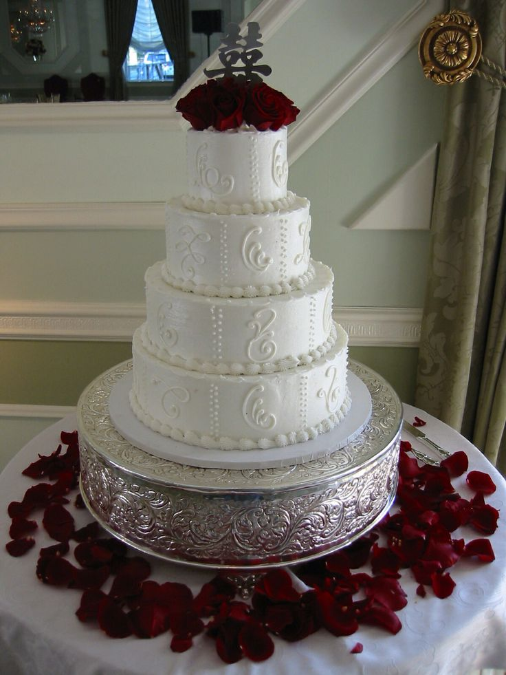 wedding cakes northern new jersey%0A Wedding cake simply decorated with red rose petals  Amaryllis Decorators  Northvale  New Jersey