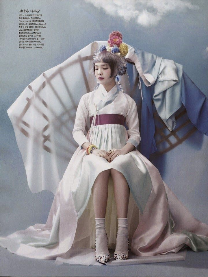 """Once Upon a Time"": So-Hee Song in High Fashion and Traditional Korean Costume (Hanbok) by Hyea-Won Kang for Vogue Korea June 2014"