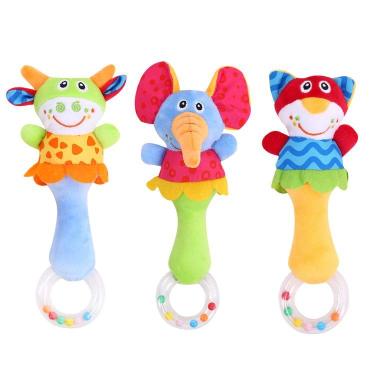 Детские Погремушки Игрушки Животных Колокольчики Плюшевые Игрушки Детские Музыкальные Погремушки для Ребенка Кровать и Коляска