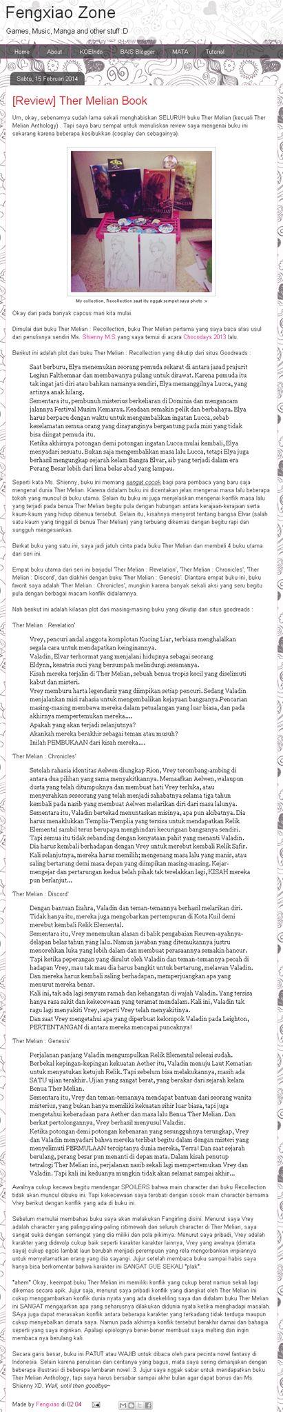 """#ReviewBuku Novel Fantasi Seri """"THER MELIAN"""" karya Shienny M.S, oleh Blogger Fengxiao Zone (Blogspot @fengxiao08)   """"…Secara garis besar, buku ini PATUT atau WAJIB untuk dibaca oleh para pecinta novel fantasy di Indonesia. Selain karena penulisan dan ceritanya yang bagus, mata saya sering dimanjakan dengan beberapa illustrasi di beberapa lembaran novel :3. Jujur saya nggak sabar untuk mendapatkan buku Ther Melian Anthology…"""""""