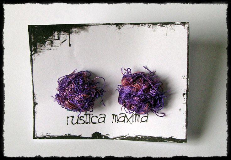 handmade #unique purple silk-knot #earring made of recycled sari silk yarn http://facebook.com/rustcamaxima
