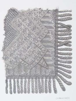 Pentekening/airbrush voorstellende een 'Omslagdoek, Vlaardingse klederdracht ca. 1890-1900' door Leo Man in 't Veld, datering 2003. #ZuidHolland #Vlaardingen